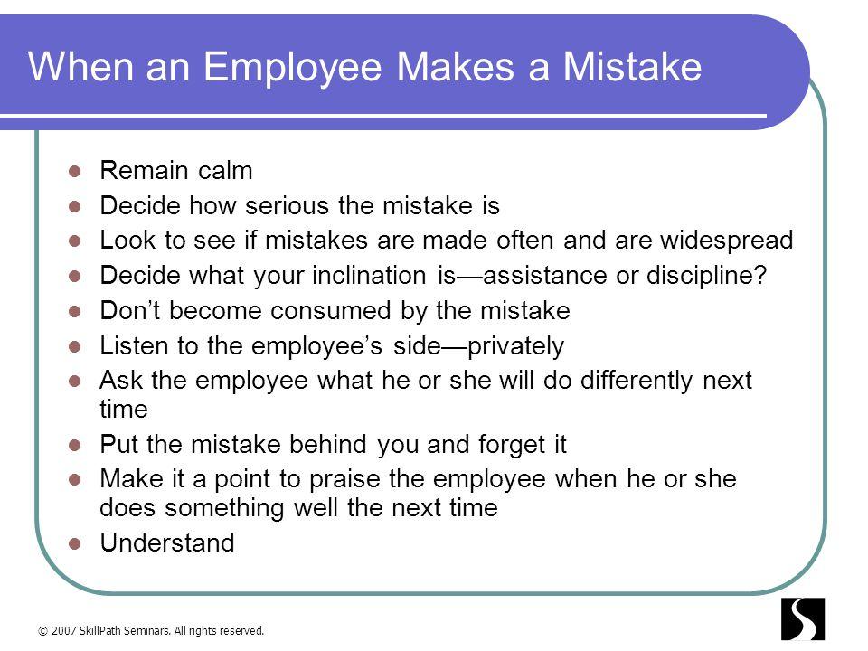 When an Employee Makes a Mistake