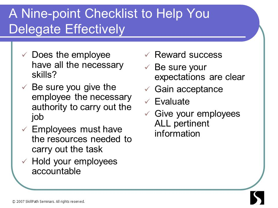 A Nine-point Checklist to Help You Delegate Effectively