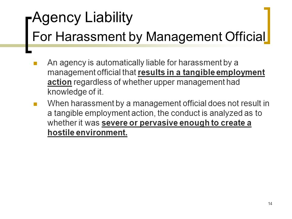 Agency Liability For Harassment by Management Official