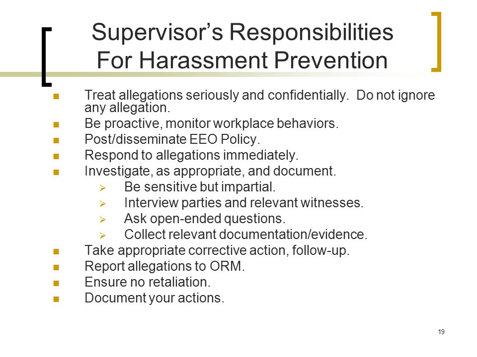 Supervisor's Responsibilities For Harassment Prevention