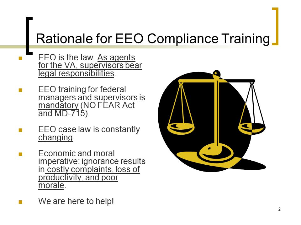 Rationale for EEO Compliance Training
