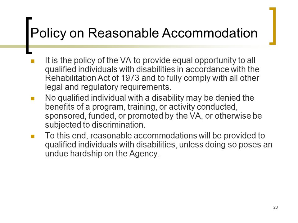 Policy on Reasonable Accommodation