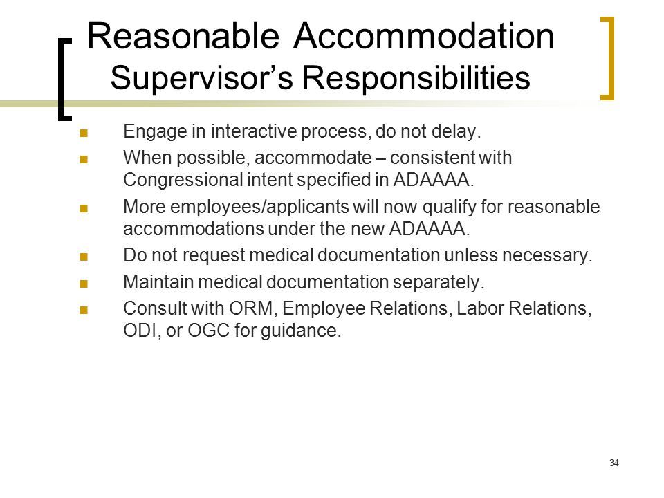 Reasonable Accommodation Supervisor's Responsibilities