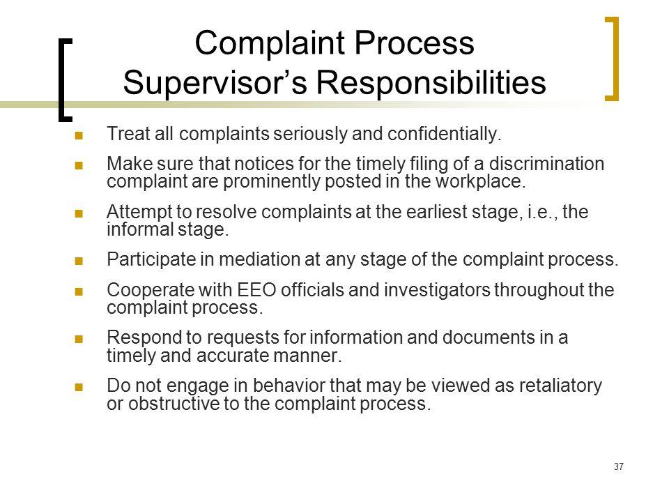 Complaint Process Supervisor's Responsibilities