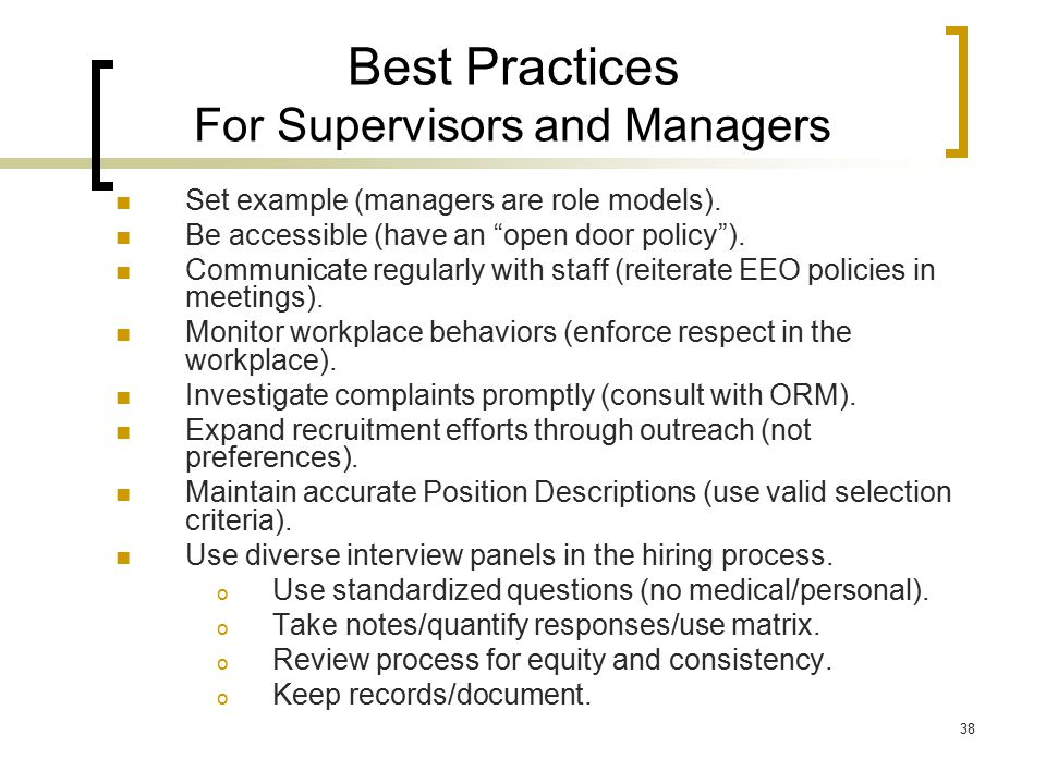 Best Practices For Supervisors and Managers