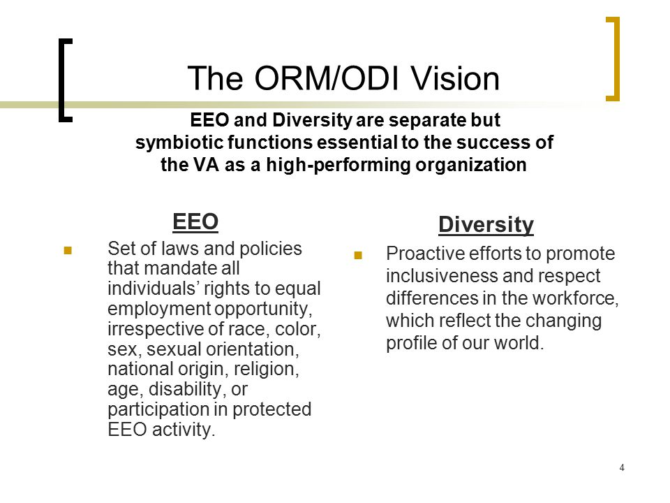 The ORM/ODI Vision EEO and Diversity are separate but symbiotic functions essential to the success of the VA as a high-performing organization