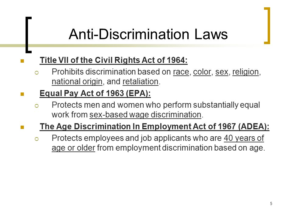 Anti-Discrimination Laws