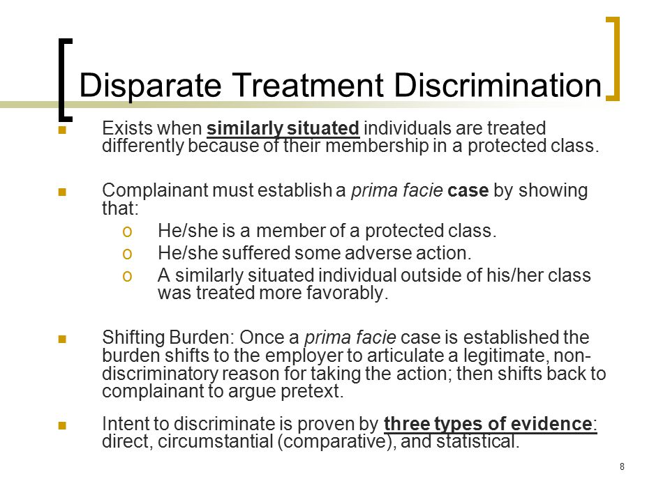 Disparate Treatment Discrimination