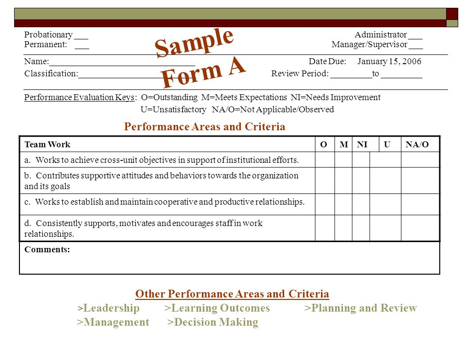 Performance Areas and Criteria