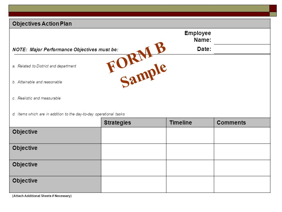 FORM B Sample Objectives Action Plan Employee Name: Date: Strategies