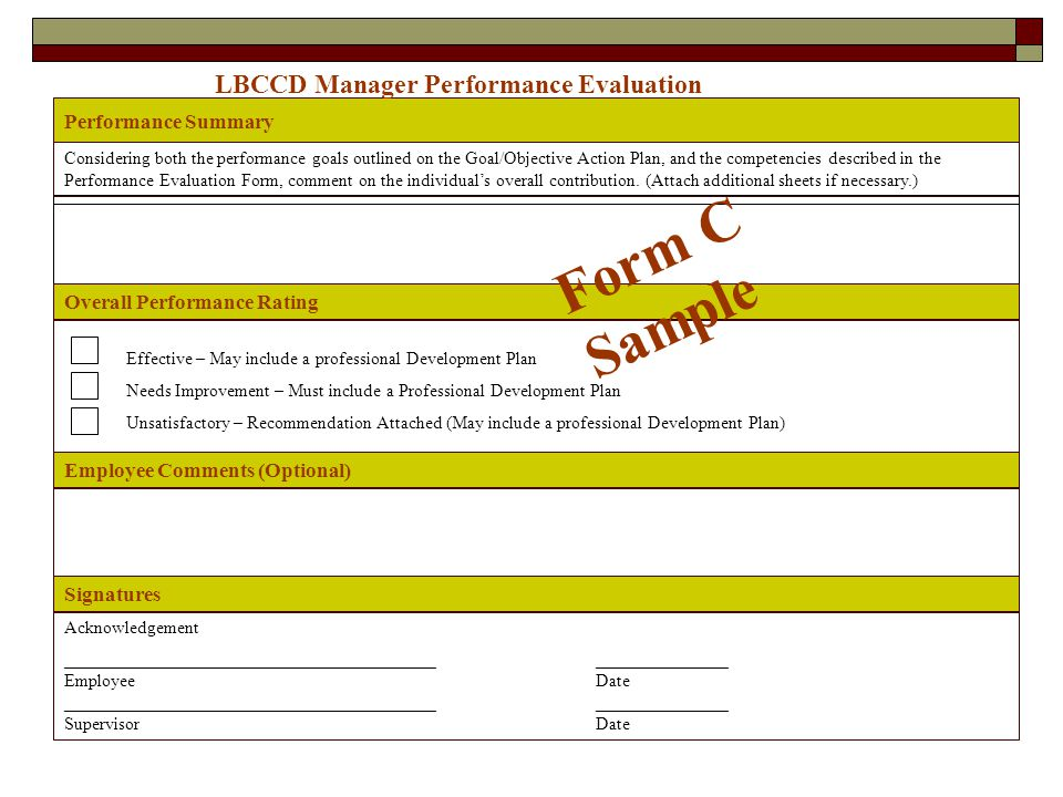 Form C Sample LBCCD Manager Performance Evaluation Performance Summary