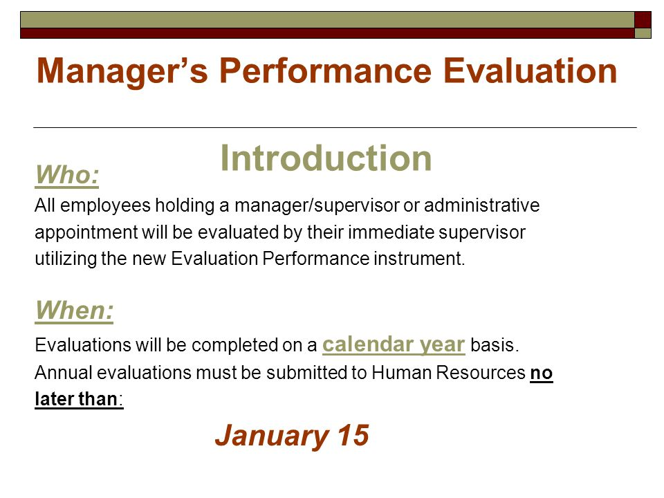 Manager's Performance Evaluation Introduction