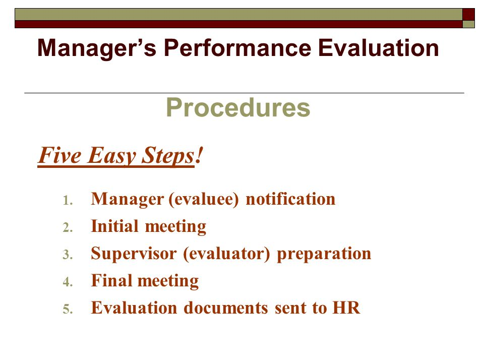 Manager's Performance Evaluation Procedures