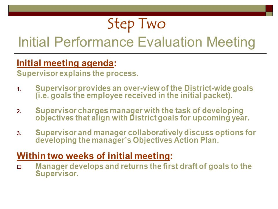 Step Two Initial Performance Evaluation Meeting