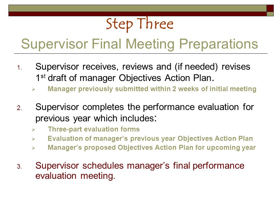 Step Three Supervisor Final Meeting Preparations