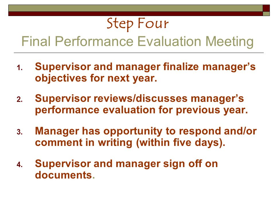 Step Four Final Performance Evaluation Meeting