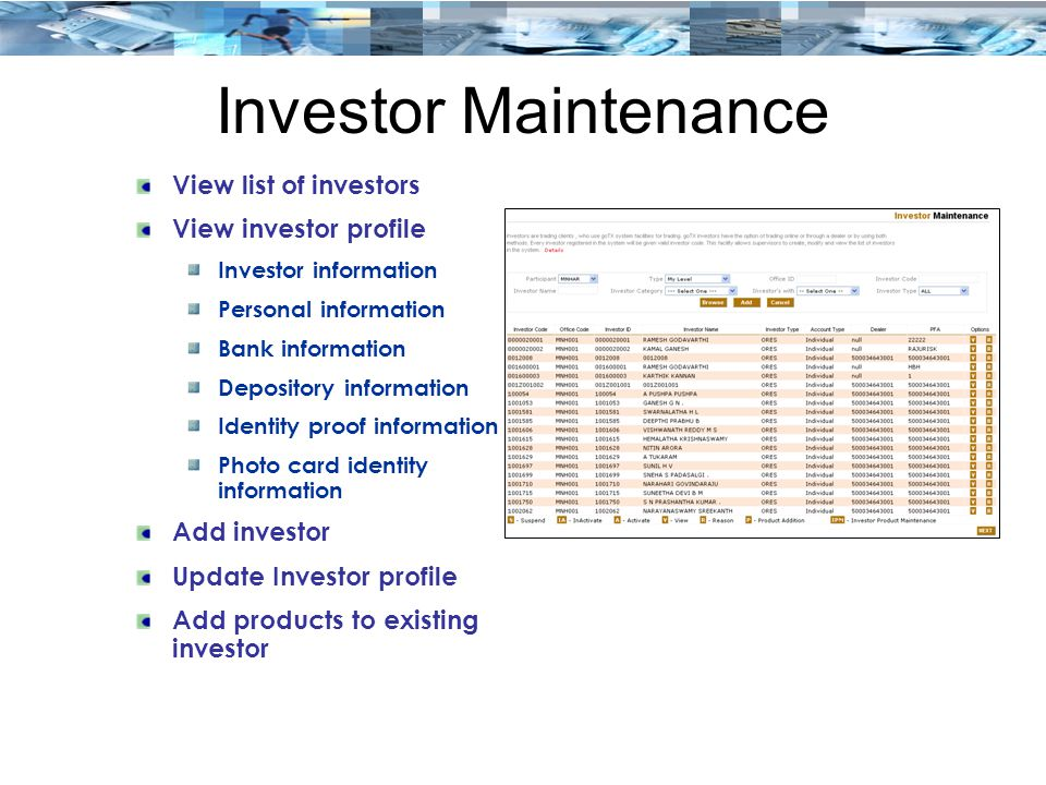 Investor Maintenance View list of investors View investor profile
