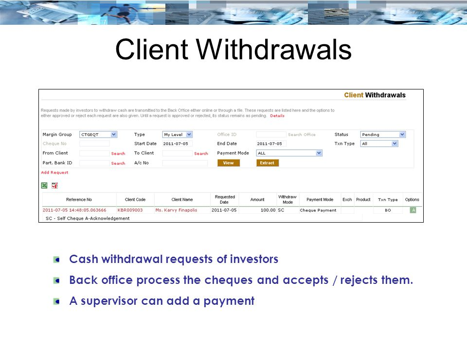 Client Withdrawals Cash withdrawal requests of investors