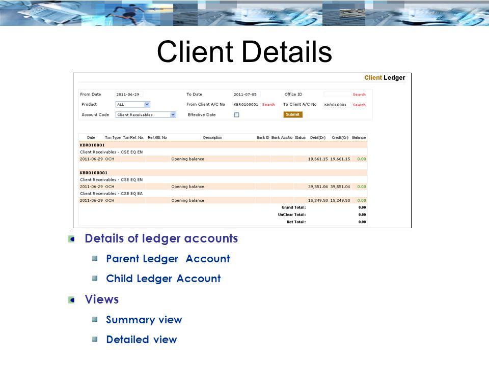 Client Details Details of ledger accounts Views Parent Ledger Account