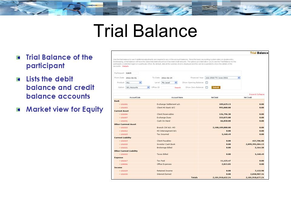 Trial Balance Trial Balance of the participant