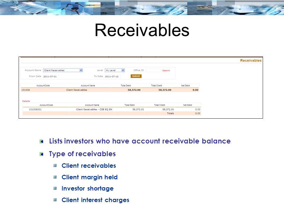 Receivables Lists investors who have account receivable balance