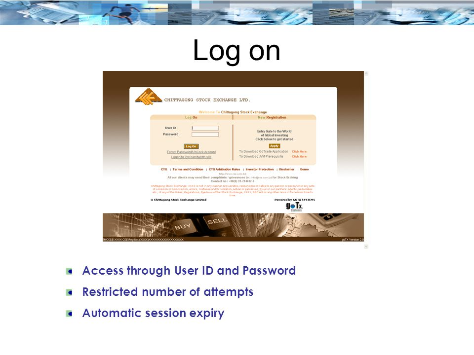 Log on Access through User ID and Password