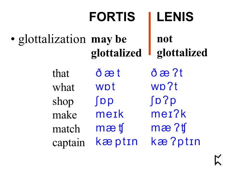 FORTIS LENIS glottalization may be not glottalized glottalized that