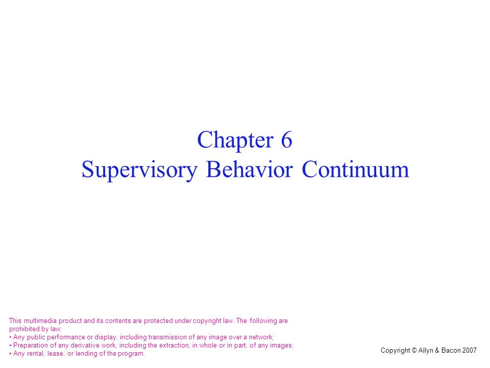 Categories of Supervisory Behaviors