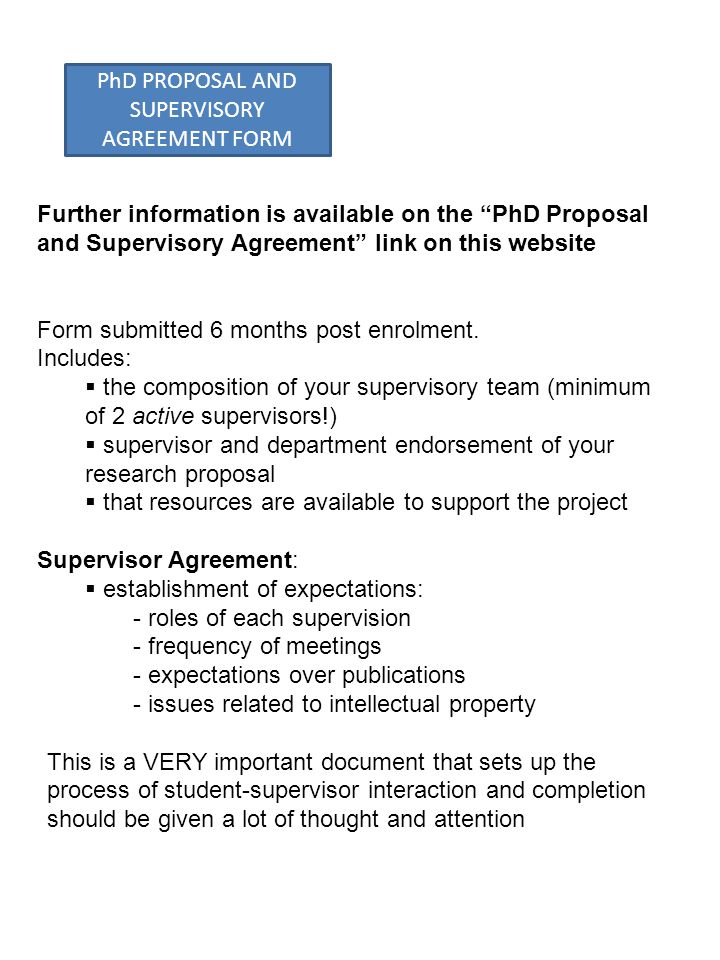 PhD PROPOSAL AND SUPERVISORY AGREEMENT FORM