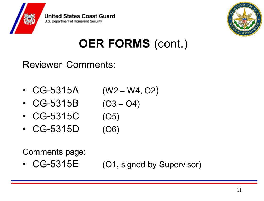 OER FORMS (cont.) Reviewer Comments: CG-5315A (W2 – W4, O2)