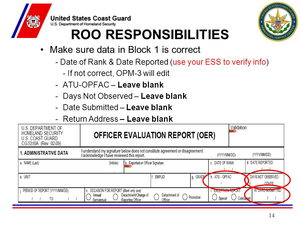 ROO RESPONSIBILITIES Make sure data in Block 1 is correct