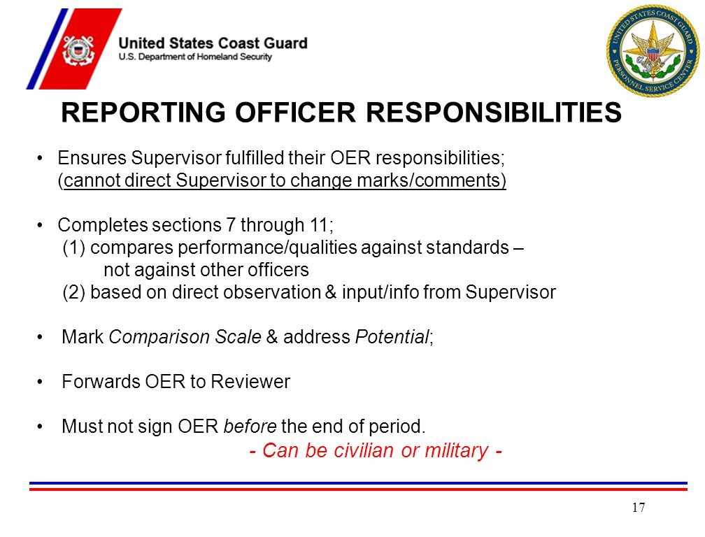 REPORTING OFFICER RESPONSIBILITIES