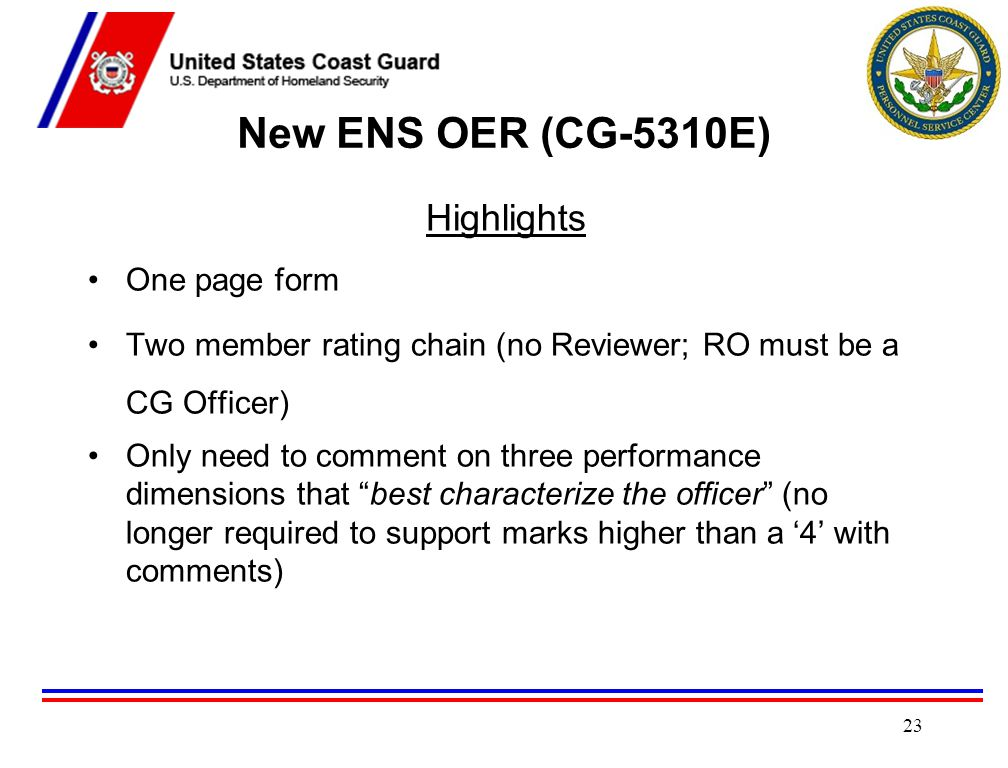 New ENS OER (CG-5310E) Highlights One page form