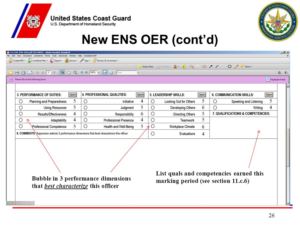 New ENS OER (cont'd) List quals and competencies earned this marking period (see section 11.c.6)
