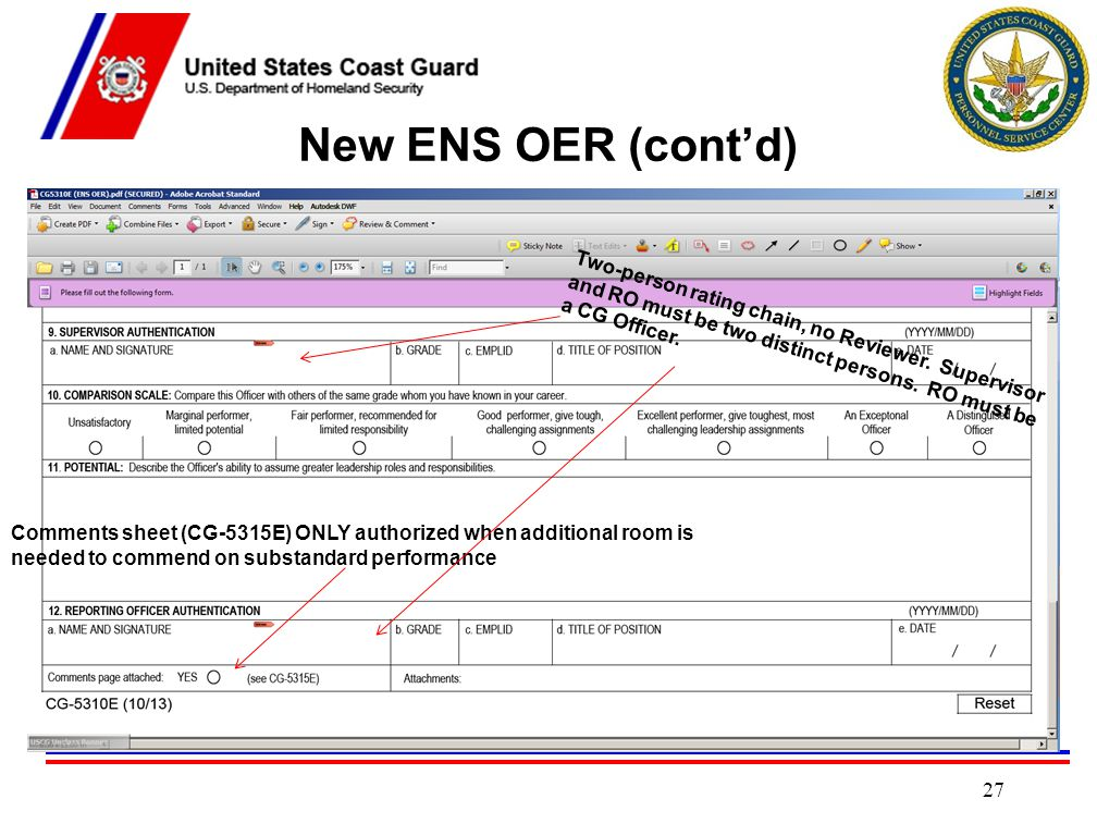 New ENS OER (cont'd) Two-person rating chain, no Reviewer. Supervisor and RO must be two distinct persons. RO must be a CG Officer.