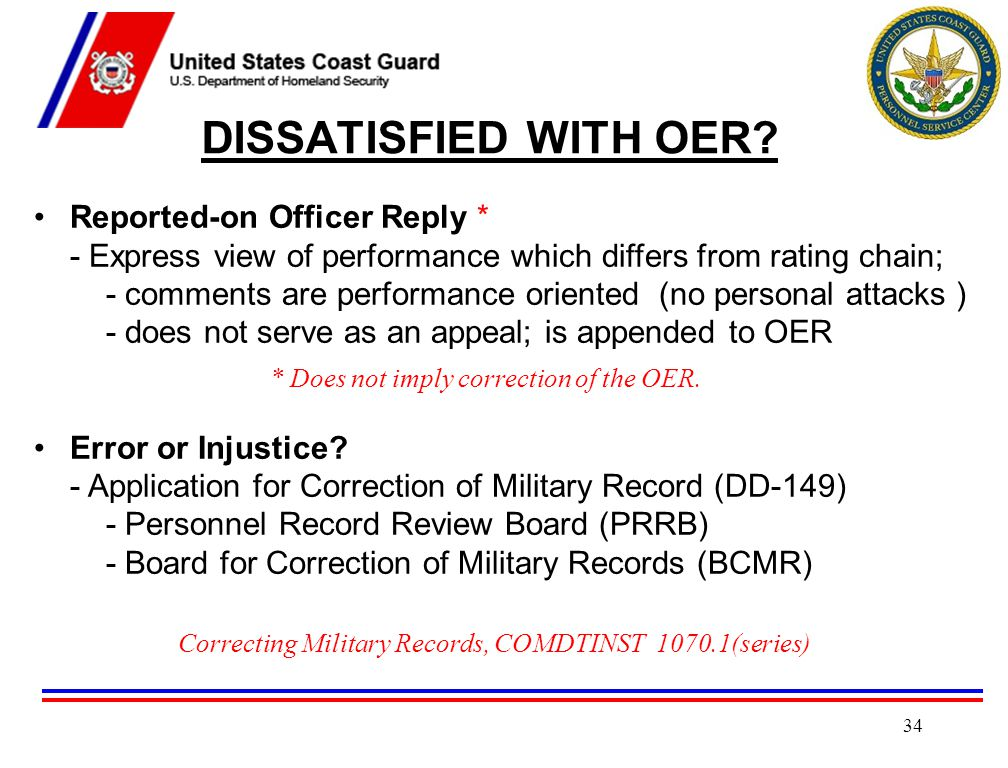 DISSATISFIED WITH OER Reported-on Officer Reply *