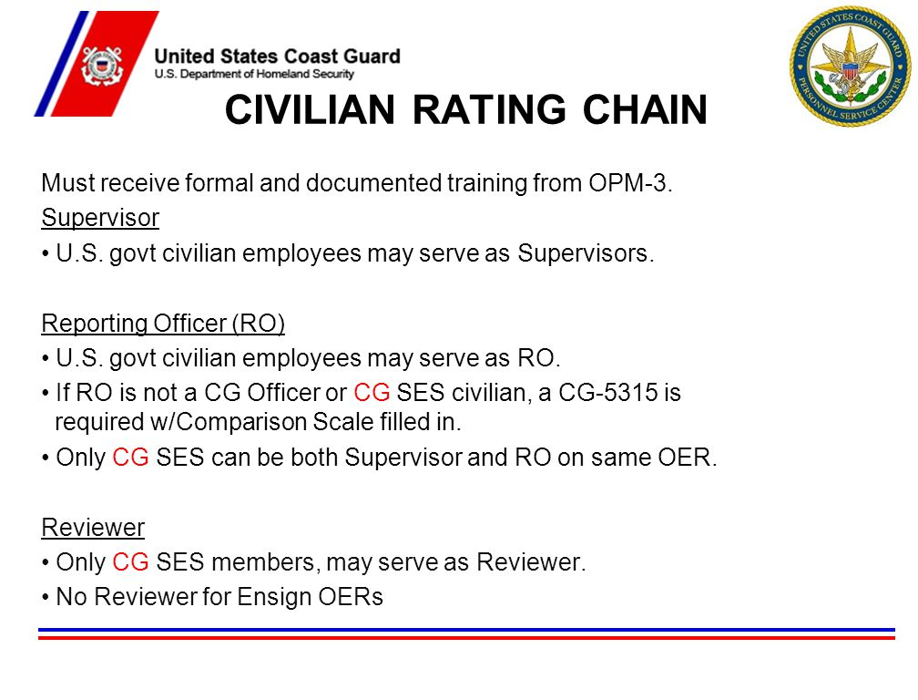 CIVILIAN RATING CHAIN Must receive formal and documented training from OPM-3. Supervisor. U.S. govt civilian employees may serve as Supervisors.