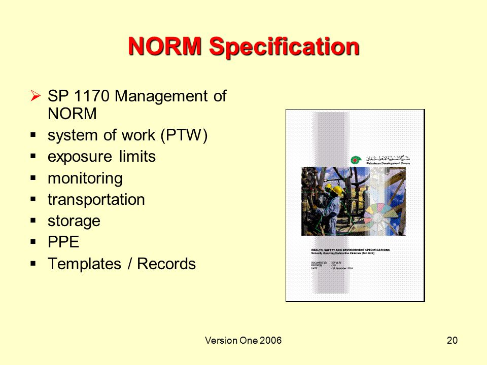 NORM Specification SP 1170 Management of NORM system of work (PTW)
