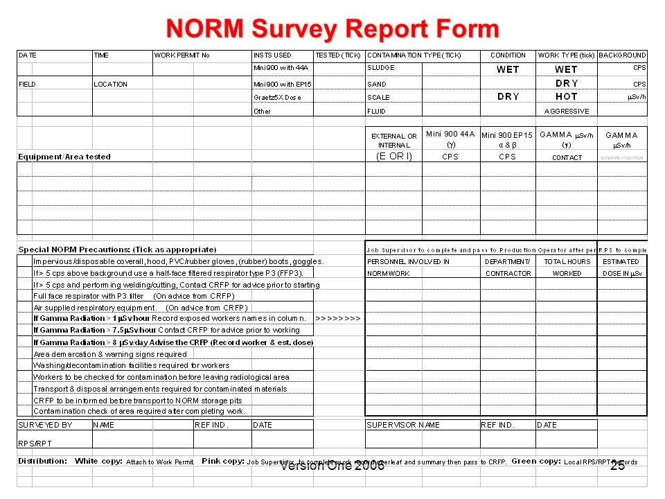 NORM Survey Report Form