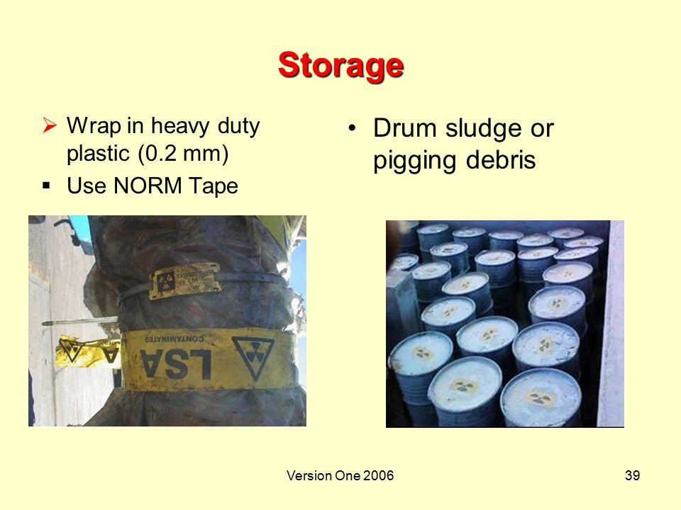 Storage Drum sludge or pigging debris