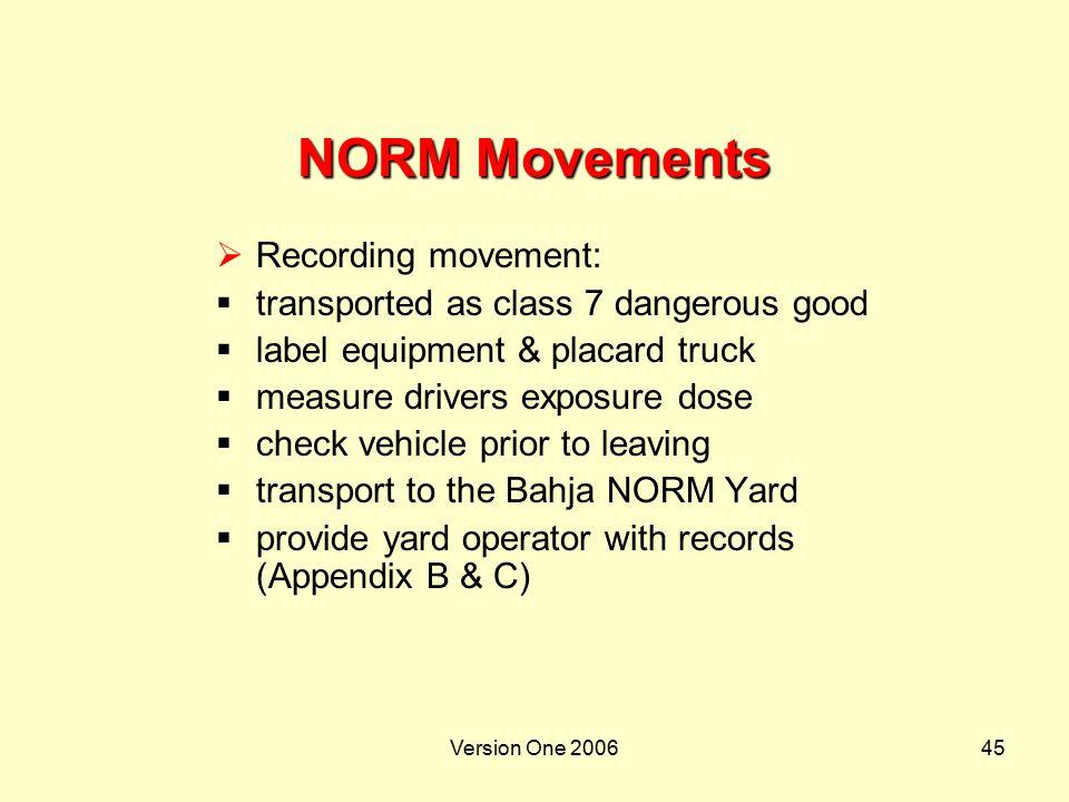 NORM Movements Recording movement: