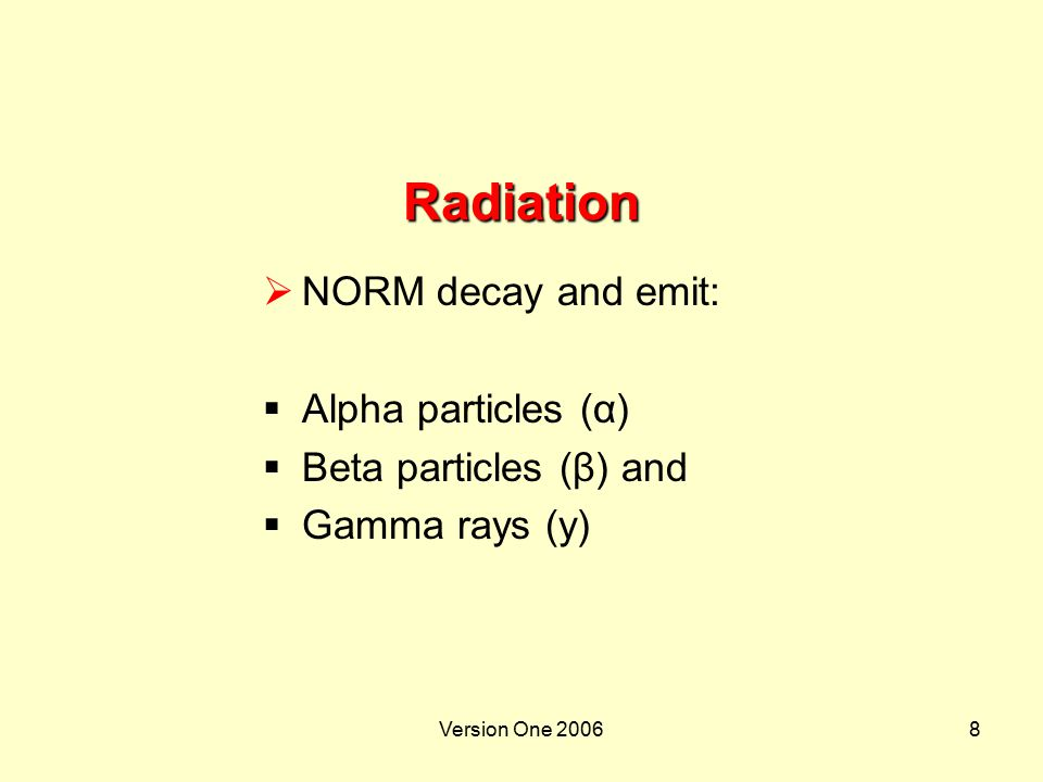 Radiation NORM decay and emit: Alpha particles (α)