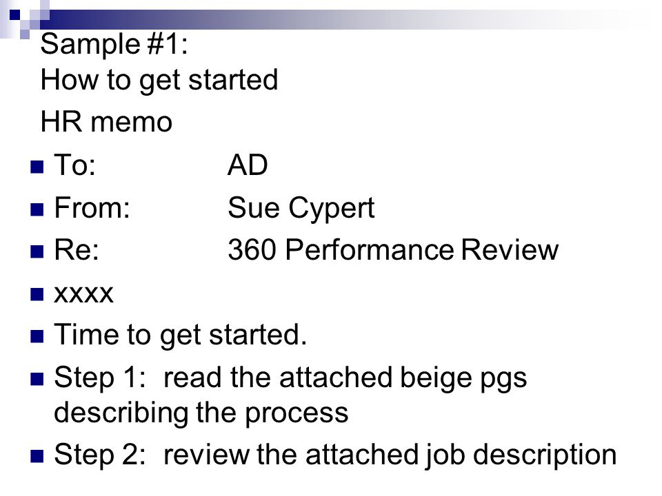 Sample #1: How to get started HR memo