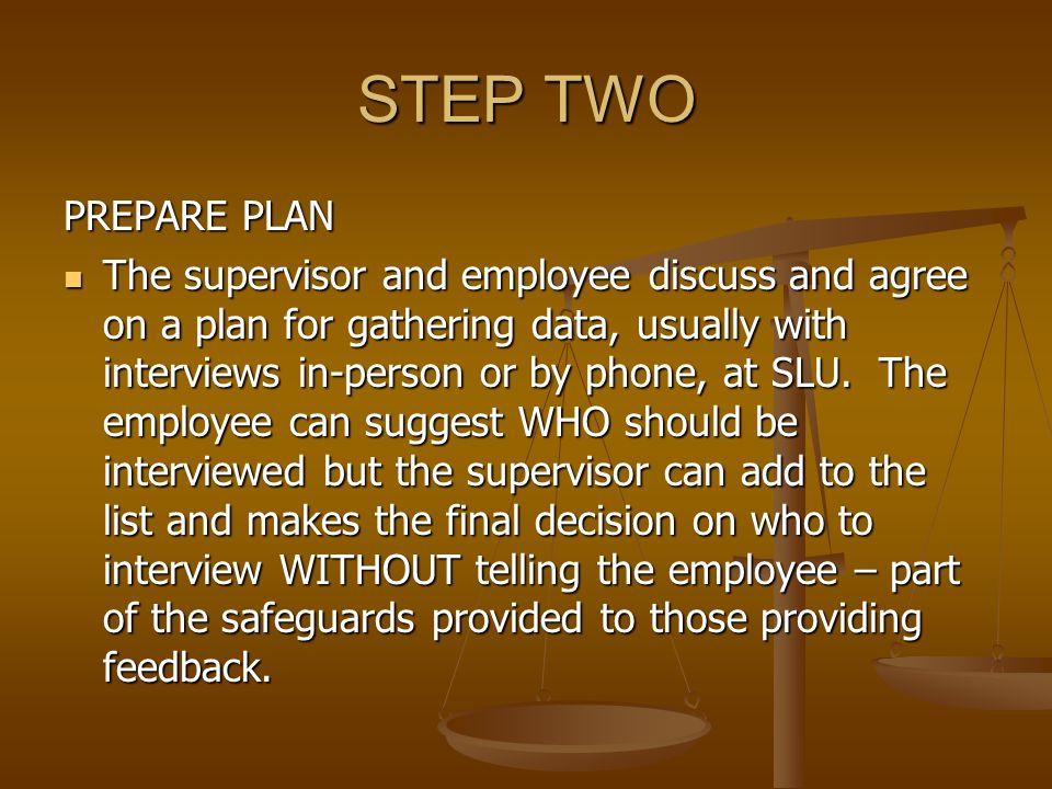STEP TWO PREPARE PLAN.