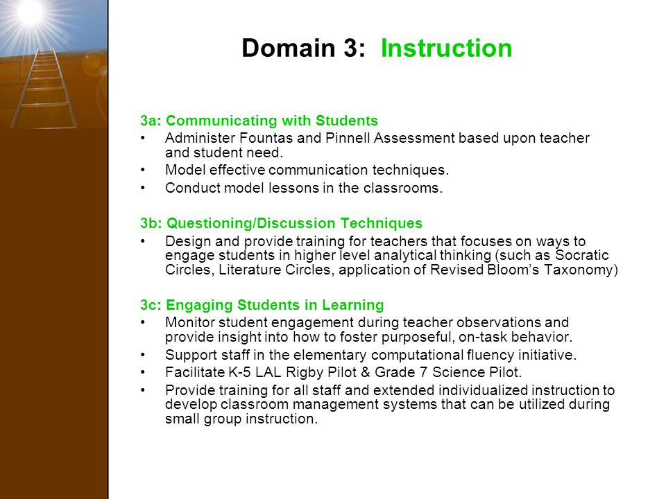 Domain 3: Instruction 3a: Communicating with Students