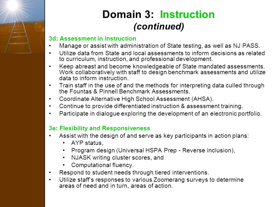 Domain 3: Instruction (continued)