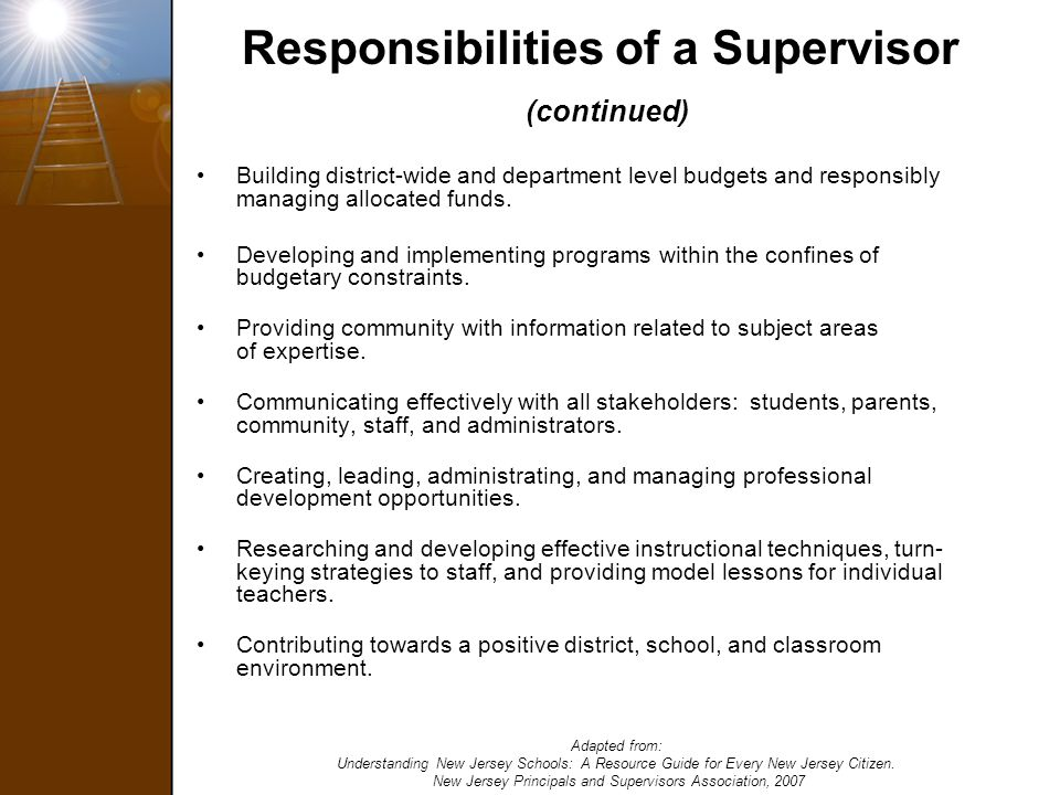Responsibilities of a Supervisor (continued)