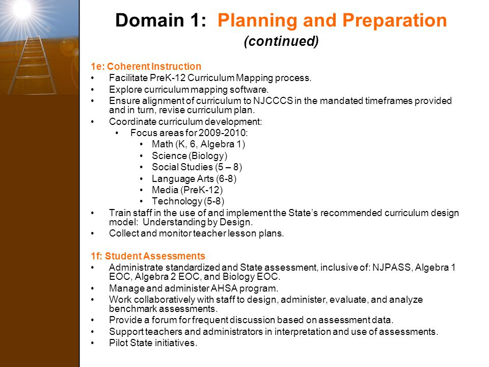 Domain 1: Planning and Preparation (continued)