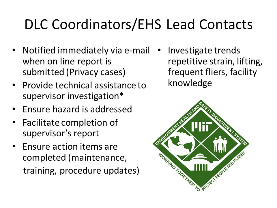 DLC Coordinators/EHS Lead Contacts