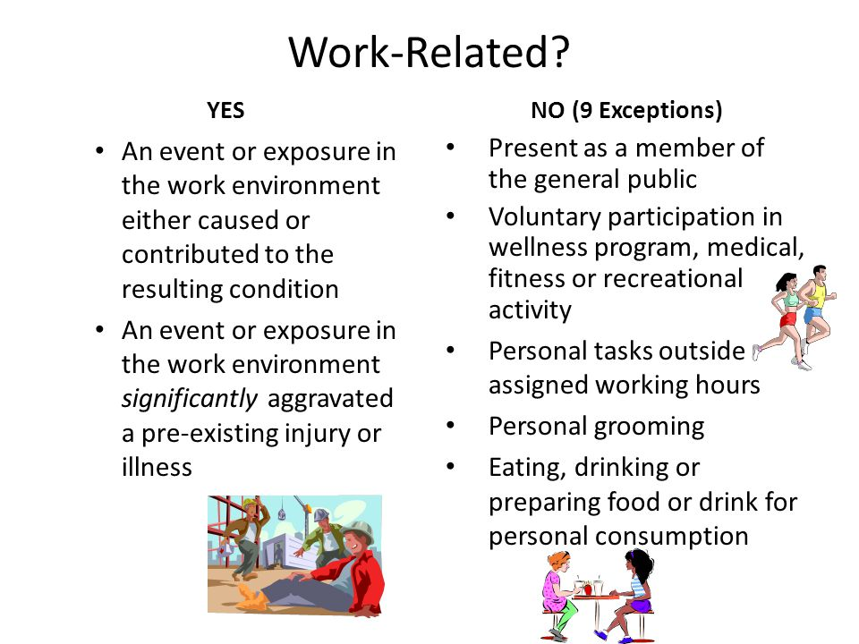 Work-Related YES. NO (9 Exceptions) An event or exposure in the work environment either caused or contributed to the resulting condition.
